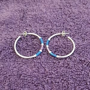 Sterling Silver w/Enamel Hoop Earrings